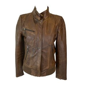 Andrew Marc Lamb Skin Leather Moto Brown Jacket M
